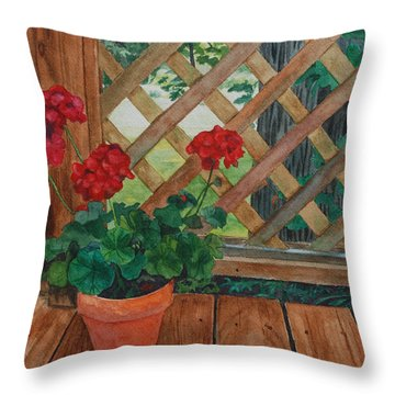 View From A Deck Throw Pillow by Lynne Reichhart
