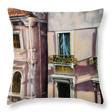 Throw Pillow featuring the painting View From A Venetian Window by Marlene Book