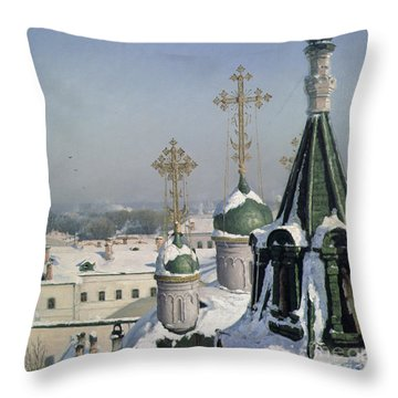View From A Window Of The Moscow School Of Painting Throw Pillow by Sergei Ivanovich Svetoslavsky
