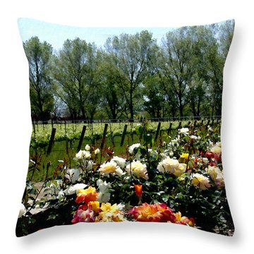 View From Bridlewood Vineyards Throw Pillow by Kurt Van Wagner