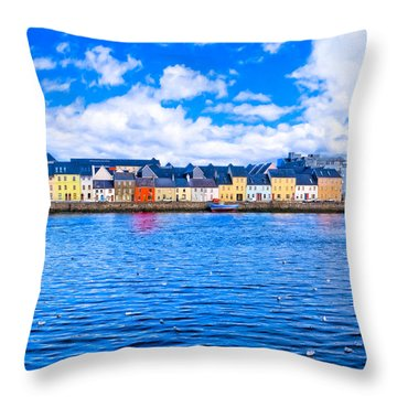 View From Claddagh Quay - Galway Throw Pillow by Mark E Tisdale
