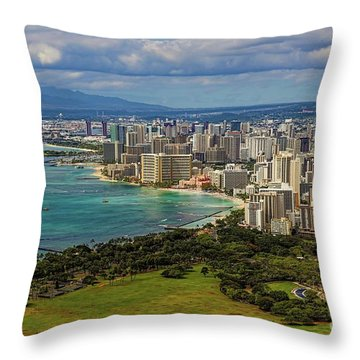 View From Diamond Head Throw Pillow by Jon Burch Photography