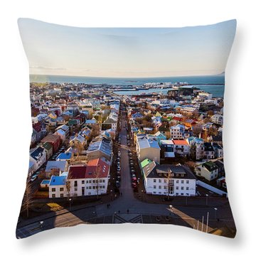 View From Hallgrimskirka Throw Pillow by Wade Courtney