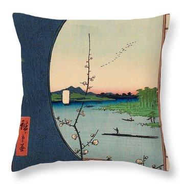 View From Massaki Of Suijin Shrine, Uchigawa Inlet, And Sekiya Throw Pillow