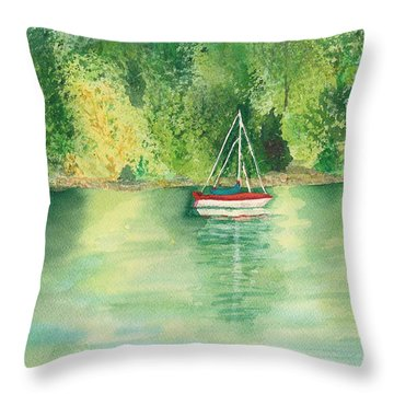 Throw Pillow featuring the painting View From Millbay Ferry by Vicki  Housel