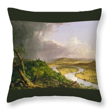 Throw Pillow featuring the painting View From Mount Holyoke Northampton Massachusetts After A Thunderstorm. The Oxbow by Thomas Cole