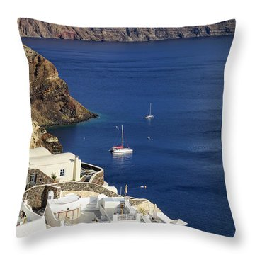 view from Oia Throw Pillow