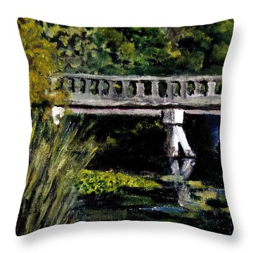 Throw Pillow featuring the painting View From Phillips' Park by Jim Phillips