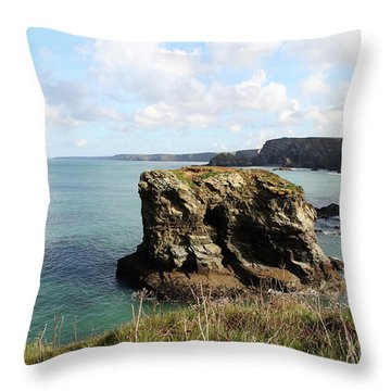 Throw Pillow featuring the photograph View From Porth Peninsula by Nicholas Burningham