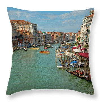 Throw Pillow featuring the photograph View From Rialto Bridge by Sharon Jones