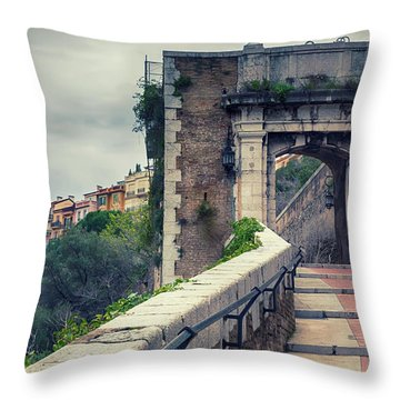 Throw Pillow featuring the photograph view from St Mary's Tower,  Monaco by Ariadna De Raadt