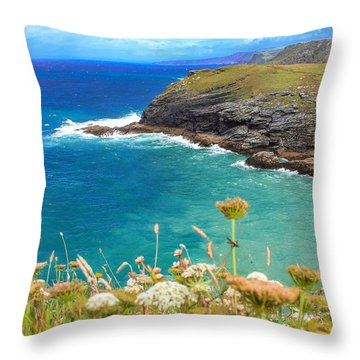 View From The Cliffs At Tintagel  Throw Pillow