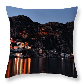 View From The Harbor St Johns Newfoundland Canada At Dusk Throw Pillow