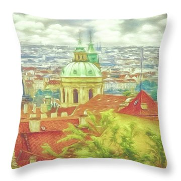 View From The High Ground - Prague  Throw Pillow
