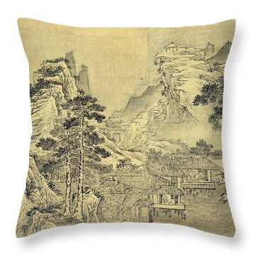 View From The Keyin Pavilion On Paradise - Baojie Mountain Throw Pillow by Wang Wen