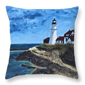 View From The North Portland Head Light Throw Pillow