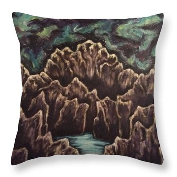 Throw Pillow featuring the painting View From The Top by Cheryl Pettigrew