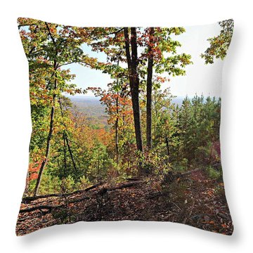 View From The Top Of Brown's Mountain Trail, Kings Mountain Stat Throw Pillow