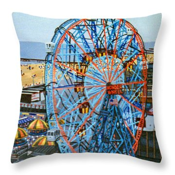 View From The Top Of The Cyclone Rollercoaster Throw Pillow