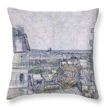 View From Vincent's Room In The Rue Lepic Throw Pillow by Vincent van Gogh
