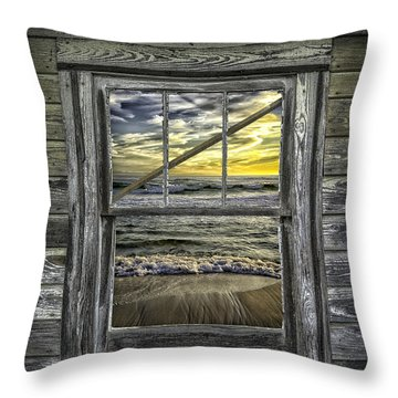 View From Weathered Beach Cottage Throw Pillow by Walt Foegelle