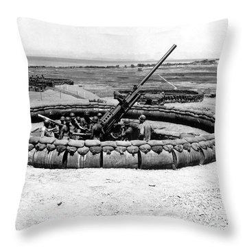 View Of A 90mm Aaa Gun Emplacement Throw Pillow by Stocktrek Images