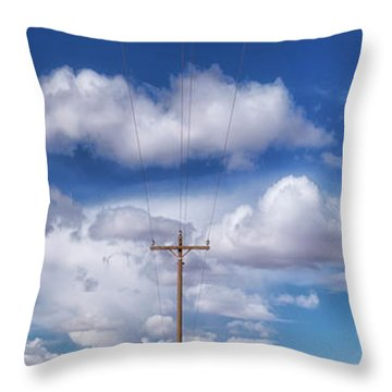 View Of A Phone Pole Throw Pillow by Gary Warnimont