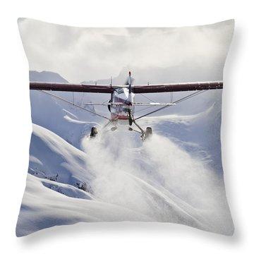 View Of A Super Cub Air Taxi At Tanaina Throw Pillow