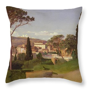View Of A Villa Throw Pillow by Jean Achille Benouville