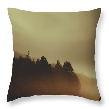 View Of Abandoned Country Road In Foggy Forest Throw Pillow