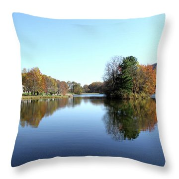 View Of Abbott Lake With Trees On Island, In Autumn Throw Pillow