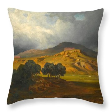 View Of Agrigento In Sicily Throw Pillow