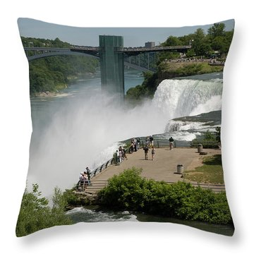 Throw Pillow featuring the photograph View Of American Niagara Falls by Jeff Folger