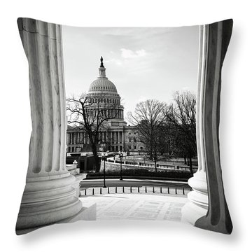 View Of Capitol Hill Through The Supreme Court Throw Pillow