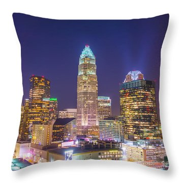 View Of Charlotte Skyline Aerial At Sunset Throw Pillow