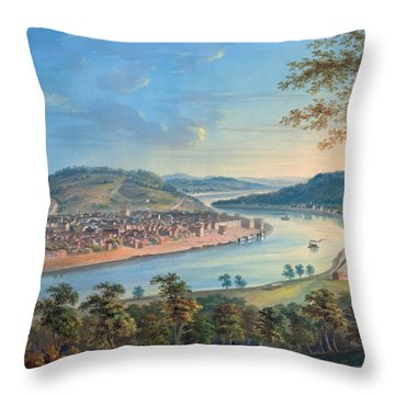 Throw Pillow featuring the painting View Of Cincinnati From Covington by John Caspar Wild