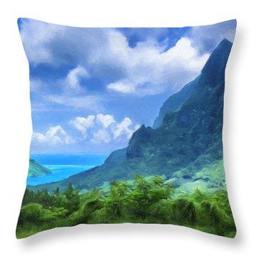 View Of Cook's Bay Mo'orea Throw Pillow