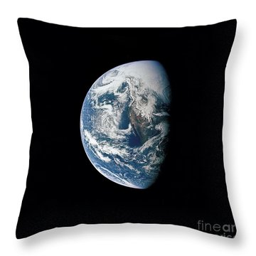 View Of Earth Taken From The Apollo 13 Throw Pillow by Stocktrek Images