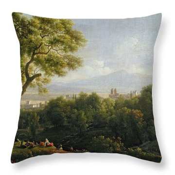 View Of Frascati Throw Pillow by Jean Bidauld