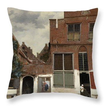 View Of Houses In Delft, Known As The Little Street Throw Pillow