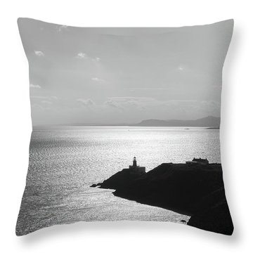 Throw Pillow featuring the photograph View Of Howth Head With The Baily Lighthouse In Black And White by Semmick Photo
