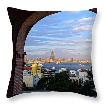 Throw Pillow featuring the photograph View Of Kaohsiung City At Sunset Time by Yali Shi