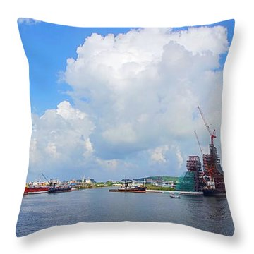 Throw Pillow featuring the photograph View Of Kaohsiung Port And Bay by Yali Shi
