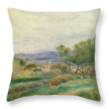 View Of La Seyne Throw Pillow by Pierre Auguste Renoir
