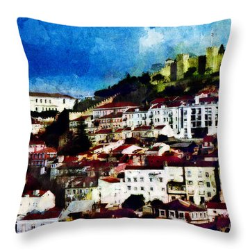 View Of Lisbon Throw Pillow