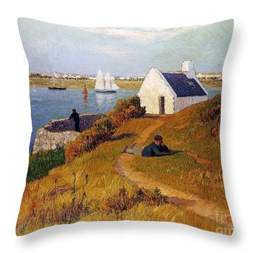 View Of Lorient In Brittany Throw Pillow by Henry Moret