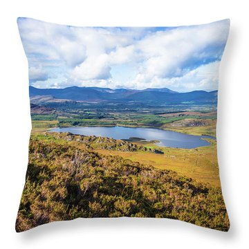 Throw Pillow featuring the photograph View Of Lough Acoose In Ballycullane From The Foothill Of Macgil by Semmick Photo