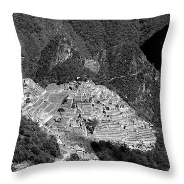 View Of Machu Picchu From The Inca Trail Throw Pillow