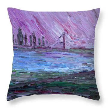Throw Pillow featuring the painting View On Manhattan by Vadim Levin
