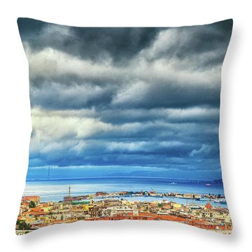 Throw Pillow featuring the photograph View Of Messina Strait Sicily With Dramatic Sky by Silvia Ganora